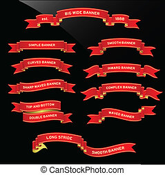 Banner Ribbon Scroll - A set of red unique banner design