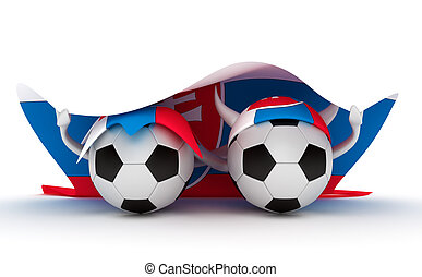 Two soccer balls hold Slovakia flag - 3D cartoon Soccer Ball...