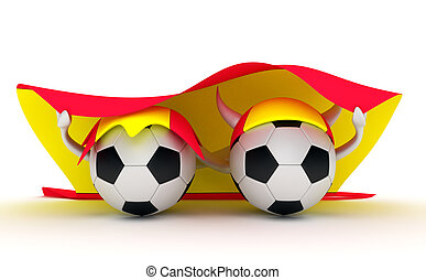 Two soccer balls hold Spain flag - 3D cartoon Soccer Ball...