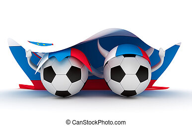 Two soccer balls hold Slovenia flag - 3D cartoon Soccer Ball...