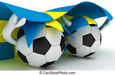 Two soccer balls hold Sweden flag - 3D cartoon Soccer Ball...