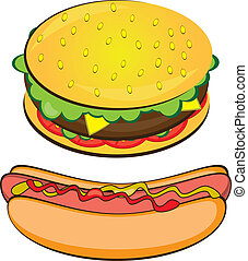 Appetizing Hotdog and Sandwich. Vector illustration on white...