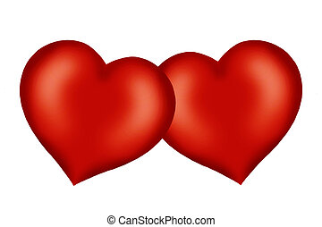 2 red hearts together - 2 red hearts joined together as one,...