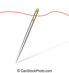 sew needle thread - Silver sewing needle with gold top and...