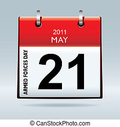 Armed forces day calendar icon on blue background and red...