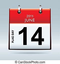 flag day calendar - red top flag icon symbol with flag day...