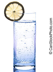 Water glass with lemon - high water glass with water and...