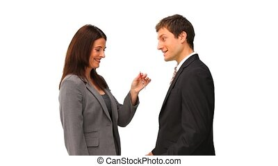agednt giving keys to a businessman