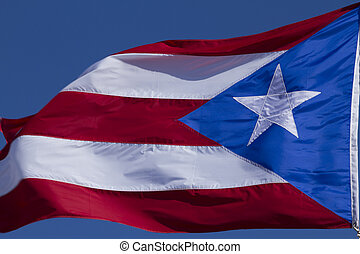 Flag of Puerto Rico - Puerto Rico flag flying and waving int...