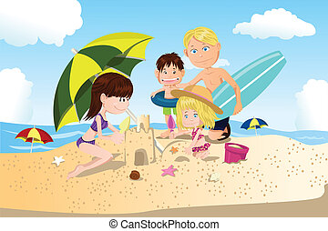 Beach family vacation - A vector illustration of a family...