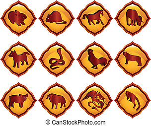 Chinese astrology - A vector illustration of chinese zodiac...