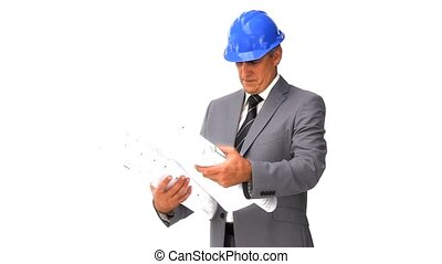 Architect checking his construction plan isolated on a white...