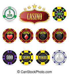 Casino Fiches - illustration of casino fiches on isolated...