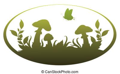 vignette, cogumelos
