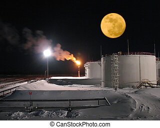 Refinery - Oil refinery station. Night landscape. Beautiful...
