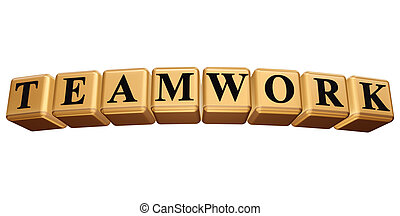 golden teamwork isolated - 3d golden boxes with black...
