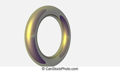 Rotating Gold Ring - Rotating golden ring isolated over grey