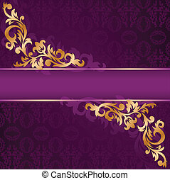 purple banner with gold ornaments - purple banner with a...