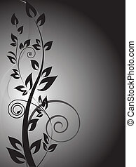 black branch with curls on the vertical gradient background