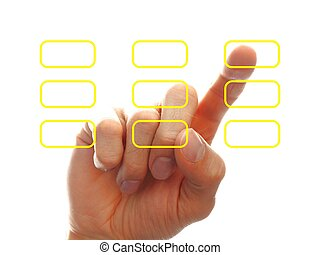 businessman?s hand chooising one of the options