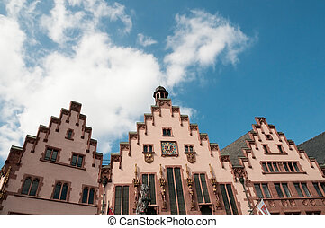 Historical Romer Square in the city of Frankfurt Main,...