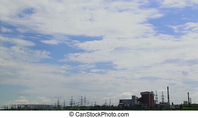 Nuclear station against the sky - A huge corps of nuclear...