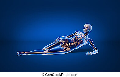 Laying woman with bone skeleton. - X ray looking, naked...