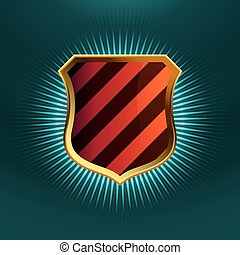Shields in black and red hazard stripes. EPS 8