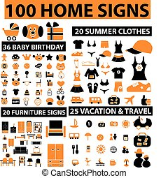 100 home signs - 100 home web signs, vector