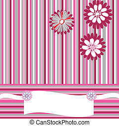 Greeting card with stripes, flowers and place for your text