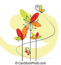 抽象的, 春, 花