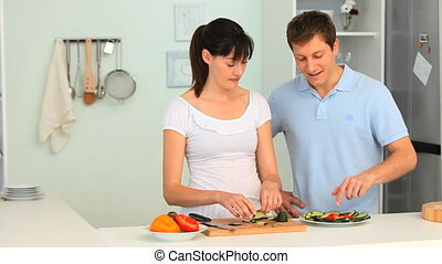 Young couple having a little argument in the kitchen