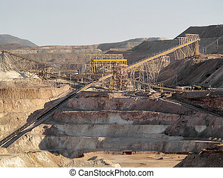 Copper extraction works in a mine in middle Chile