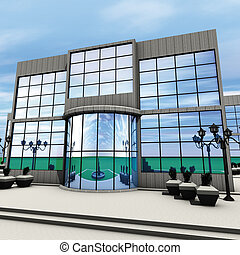 Company front - 3D rendering  front commercial building
