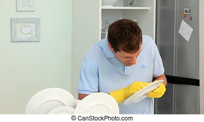 A man doing the dishes