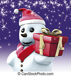 Snowman Christmas red gift