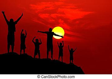 six children jumping mountain sunset - six children jumping...