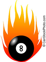 Burning Eight-Ball - This illustration shows an burnining...