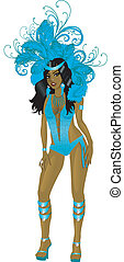 Carnival Teal Girl - Vector Illustration for carnival...