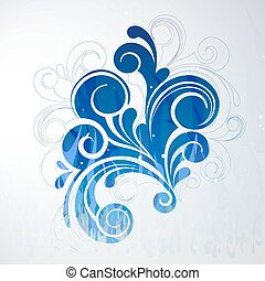 Abstract Design - vector illustration of a blue floral...