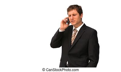 Handsome businessman speaking on the phone