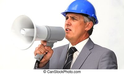 Chief of a building project using a megaphone isolated on a...