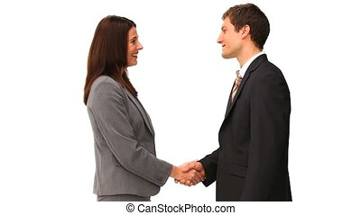 Business people shaking hands isolated on a white backgorund