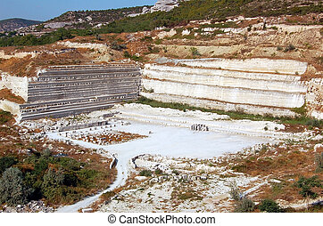 Limestone in quarry - Sliced limestone in old quarry,...