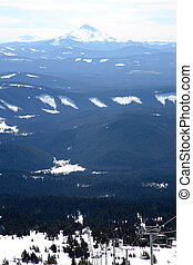 Cascade mountain range as seen from Mt. Hood, Oregon.