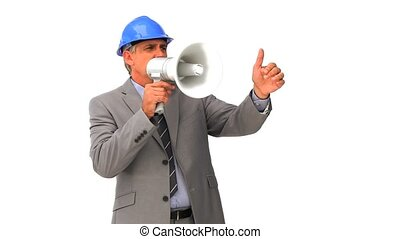 Architect with a megaphone isolated on a white background