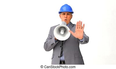 Businessman with a megaphone isolated on a white background