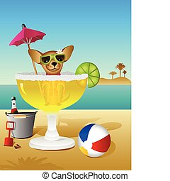 Party Animal - A Chihuahua takes a margarita bath while...