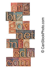 internet domains in letterpress type - collage of popular...