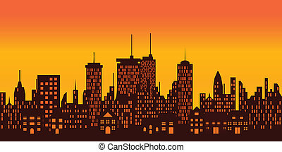 Sunset over big city - Sunset over a big city